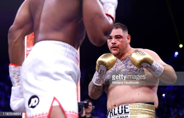 Andy Ruiz Jr in action with a cut to his left eye during the IBF WBA WBO IBO World Heavyweight Title Fight between Andy Ruiz Jr and Anthony Joshua...