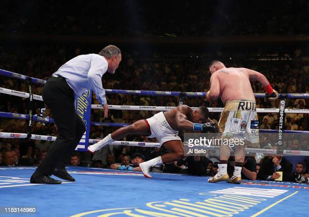 Andy Ruiz Jr knocks down Anthony Joshua in the seventh round during their IBF/WBA/WBO heavyweight title fight at Madison Square Garden on June 01,...