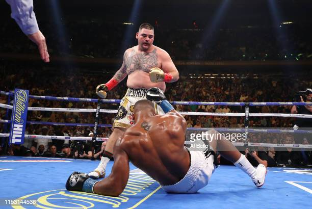 Andy Ruiz Jr knocks down Anthony Joshua in the third round during their IBF/WBA/WBO heavyweight title fight at Madison Square Garden on June 01, 2019...