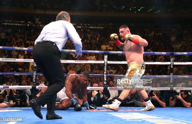 Andy Ruiz Jr knocks down Anthony Joshua in the WBA IBF WBO and IBO Heavyweight World Championships title fight at Madison Square Garden New York