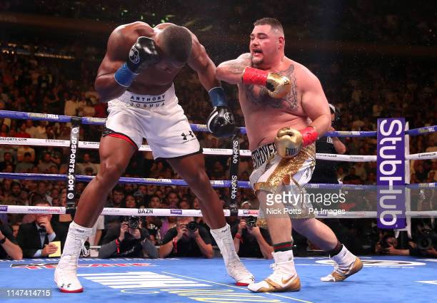 Andy Ruiz Jr lands a punch on Anthony Joshua in the WBA IBF WBO and IBO Heavyweight World Championships title fight at Madison Square Garden New York