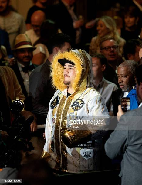 Andy Ruiz Jr looks on against Anthony Joshua before their IBF/WBA/WBO heavyweight title fight at Madison Square Garden on June 01 2019 in New York...