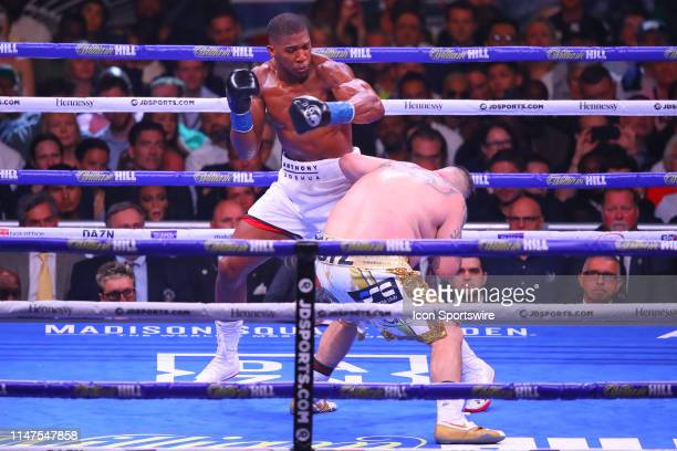 Andy Ruiz Jr of California and Anthony Joshua of England battle during the second round of the World Heavyweight Championship fight on June 1 2019 at...