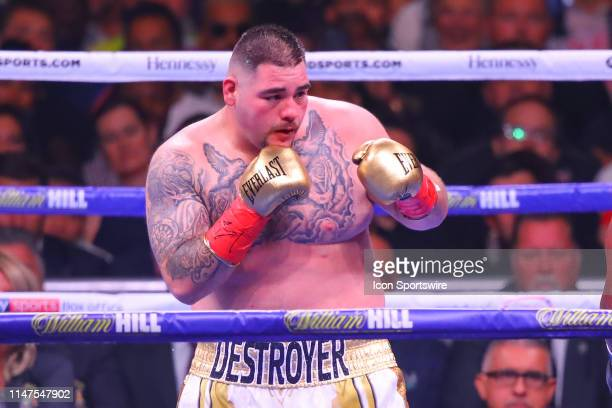 Andy Ruiz Jr of California during the second round of the World Heavyweight Championship fight on June 1 2019 at Madison Square Garden in New York NY
