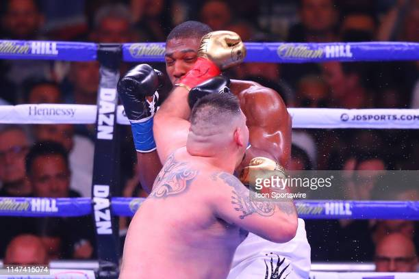 Andy Ruiz Jr of California hits Anthony Joshua of England during the second round of the World Heavyweight Championship fight on June 1 2019 at...