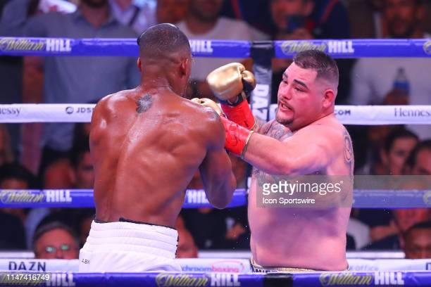 Andy Ruiz Jr of California punches Anthony Joshua of England during the World Heavyweight Championship fight on June 1 2019 at Madison Square Garden...
