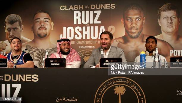 Andy Ruiz Jr Prince Abdulaziz Al Saud chairman of the country's General Sports Authority Boxing promoter Eddie Hearn and Anthony Joshua at the...