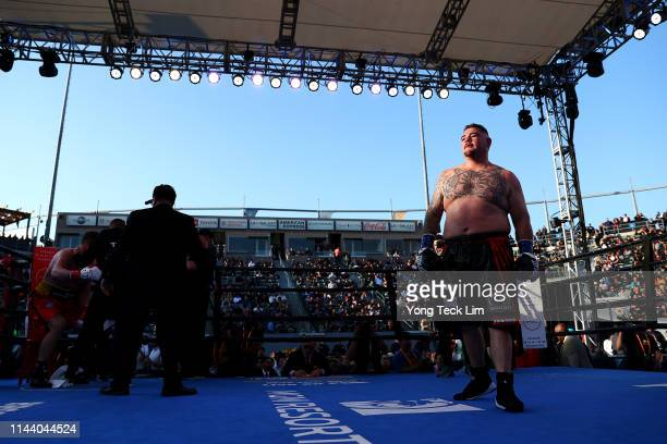 Andy Ruiz Jr reacts after the umpire calls a stop to his heavyweight bout against Alexander Dimitrenko at Dignity Health Sports Park on April 20 2019...