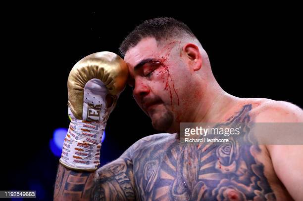 Andy Ruiz Jr reacts with a cut to his left eye during the IBF WBA WBO IBO World Heavyweight Title Fight between Andy Ruiz Jr and Anthony Joshua...