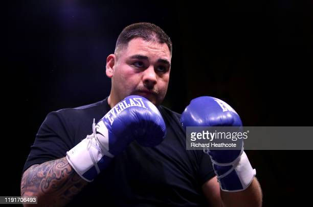 Andy Ruiz Jr trains ahead of the IBF WBA WBO IBO World Heavyweight Title Fight between Andy Ruiz Jr and Anthony Joshua during the Clash On The Dunes...