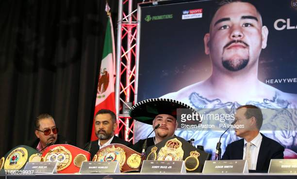 Andy Ruiz Sr Manny Robles Andy Ruiz and Adam Smith during a press conference at The Hilton London Syon Park London
