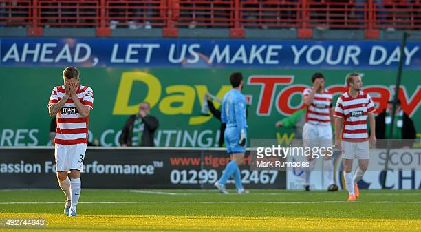 Andy Ryan of Hamilton Academical reacts after Jason Cummings scores his second goal of the game in the Scottish Premiership Playoff Final First Leg...