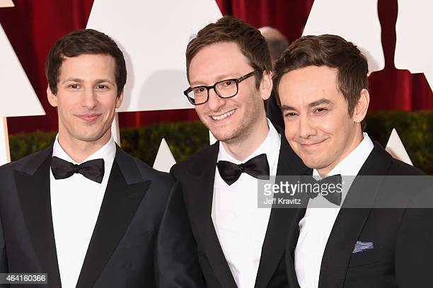 Andy Samberg Akiva Schaffer and Jorma Taccone of The Lonely Island attend the 87th Annual Academy Awards at Hollywood Highland Center on February 22...