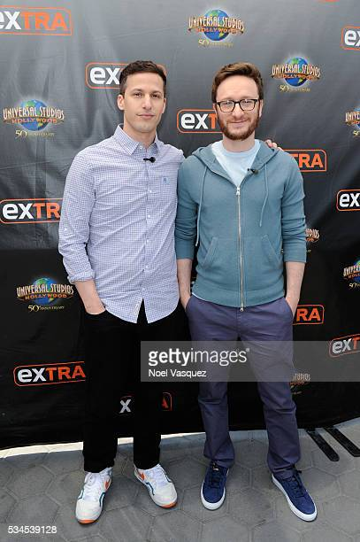 Andy Samberg and Akiva Schaffer visit Extra at Universal Studios Hollywood on May 26 2016 in Universal City California