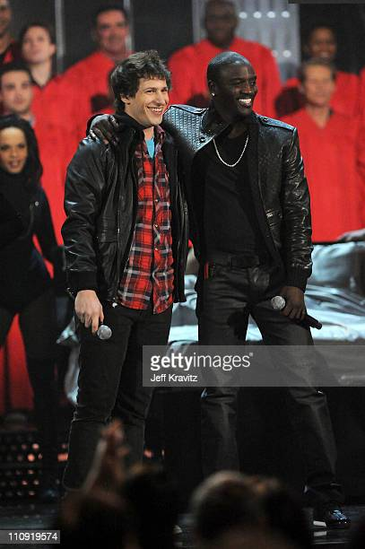 Andy Samberg and Akon perform onstage at the First Annual Comedy Awards at Hammerstein Ballroom on March 26, 2011 in New York City.