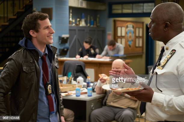 Andy Samberg and Andre Braugher in the Show Me Going episode of BROOKLYN NINENINE airing Sunday May 6 on FOX