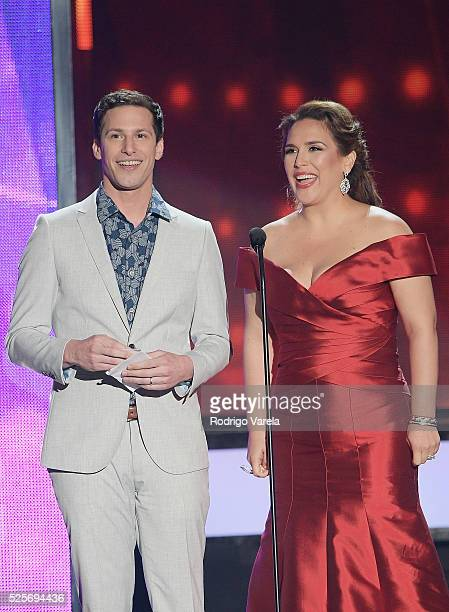 Andy Samberg and Angelica Vale onstage at the Billboard Latin Music Awards at Bank United Center on April 28 2016 in Miami Florida