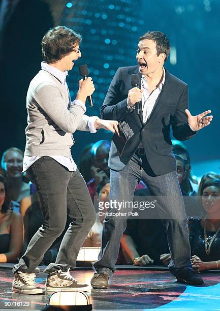 Andy Samberg and Jimmy Fallon onstage during the 2009 MTV Video Music Awards at Radio City Music Hall on September 13 2009 in New York City