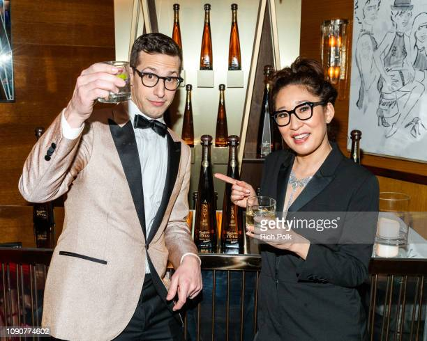 Andy Samberg and Sandra Oh celebrate with Tequila Don Julio 1942 at their private Golden Globes AfterParty on Sunday January 6 2019 in West Hollywood...