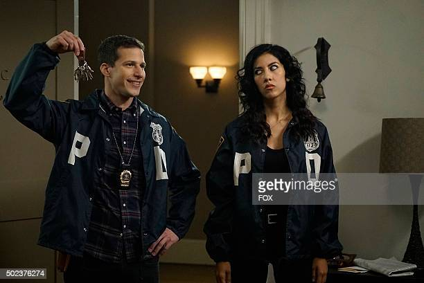 Andy Samberg and Stephanie Beatriz in the The Swedes episode of BROOKLYN NINENINE airing Sunday Dec 6 on FOX