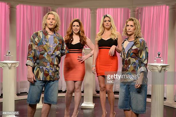 LIVE 'Andy Samberg' Episode 1662 Pictured Andy Samberg Vanessa Bayer Cecily Strong and Kristen Wiig during the 'Bvlgari' skit on May 17 2014