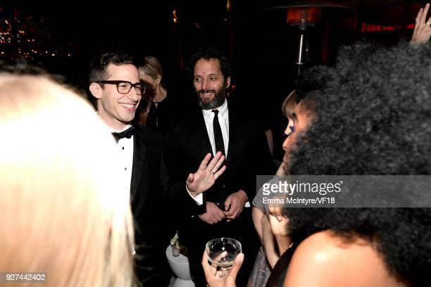 Andy Samberg Jason Mantzoukas and Bozoma Saint John attends the 2018 Vanity Fair Oscar Party hosted by Radhika Jones at Wallis Annenberg Center for...