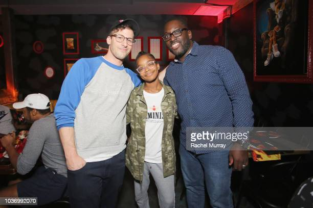 Andy Samberg Marsai Martin and Dessie Brown Jr attend The Flamin Hot Spot Cheetos new limitedtime restaurant with a menu inspired by chef Roy Choi at...