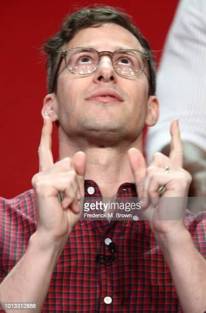 Andy Samberg of the television show 'Brooklyn NineNine' speaks during the NBC segment of the Television Critics Association Press Tour at the Beverly...
