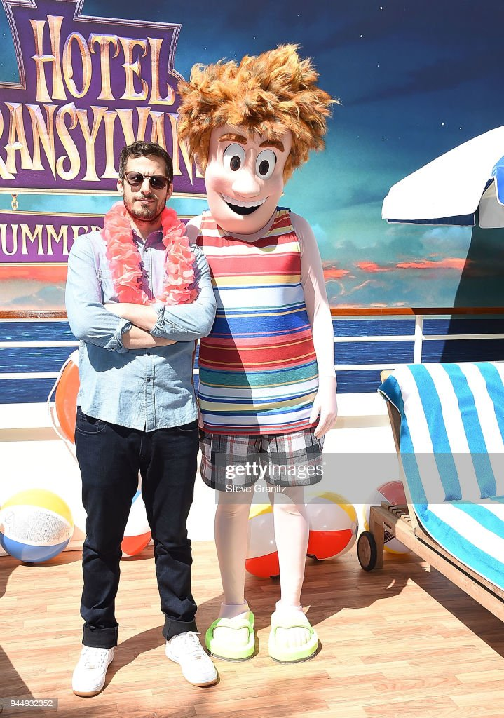 Andy Samberg poses at the Photo Call For Sony Pictures' 'Hotel Transylvania 3: Summer Vacation' at Sony Pictures Studios on April 11, 2018 in Culver City, California.
