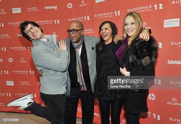 """Andy Samberg, Quincy Jones, Rashida Jones and Peggy Lipton arrive at """"Celeste And Jesse Forever"""" at the Eccles Center Theatre during the 2012..."""