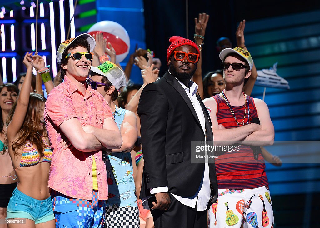 Andy Samberg, T-Pain and Akiva Schaffer of The Lonely Island performs during 'The Big Live Comedy Show' presented by YouTube Comedy Week held at Culver Studios on May 19, 2013 in Culver City, California.