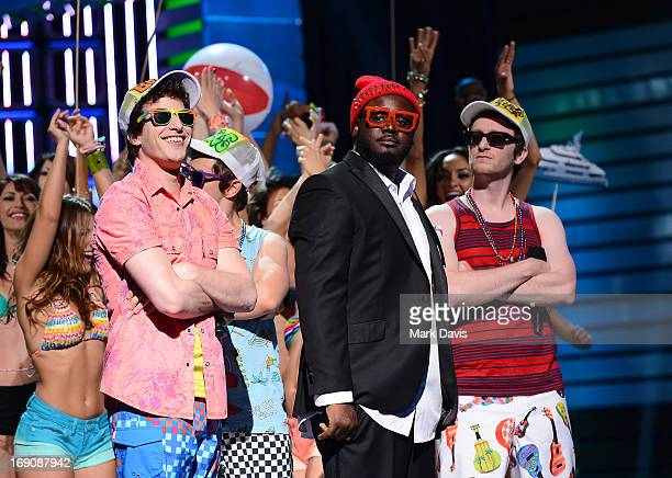 """Andy Samberg, T-Pain and Akiva Schaffer of The Lonely Island performs during """"The Big Live Comedy Show"""" presented by YouTube Comedy Week held at..."""