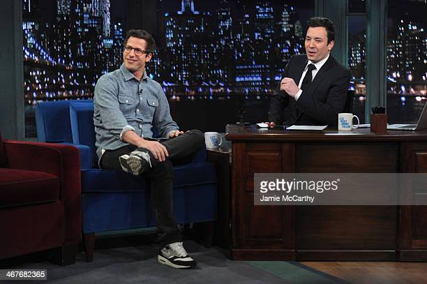 Andy Samberg Visits 'Late Night With Jimmy Fallon' at Rockefeller Center on February 7 2014 in New York City