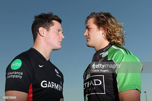 Andy Saull of Saracens and Luke Wallace of Harlequins pose during a portrait session on November 17 2011 in St Albans England