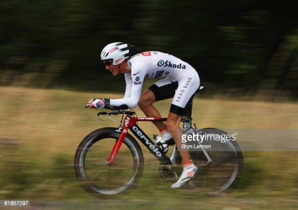 Andy Schleck of Luxembourg and Team CSC Saxo Bank rides the stage 4 individual time trial from Cholet to Cholet during the 2008 Tour de France on...