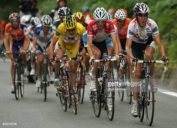 Andy Schleck of Luxembourg and Team CSC Saxo Bank up the final climb during stage fifteen of the 2008 Tour de France from Embrun to Prato Nevoso on...
