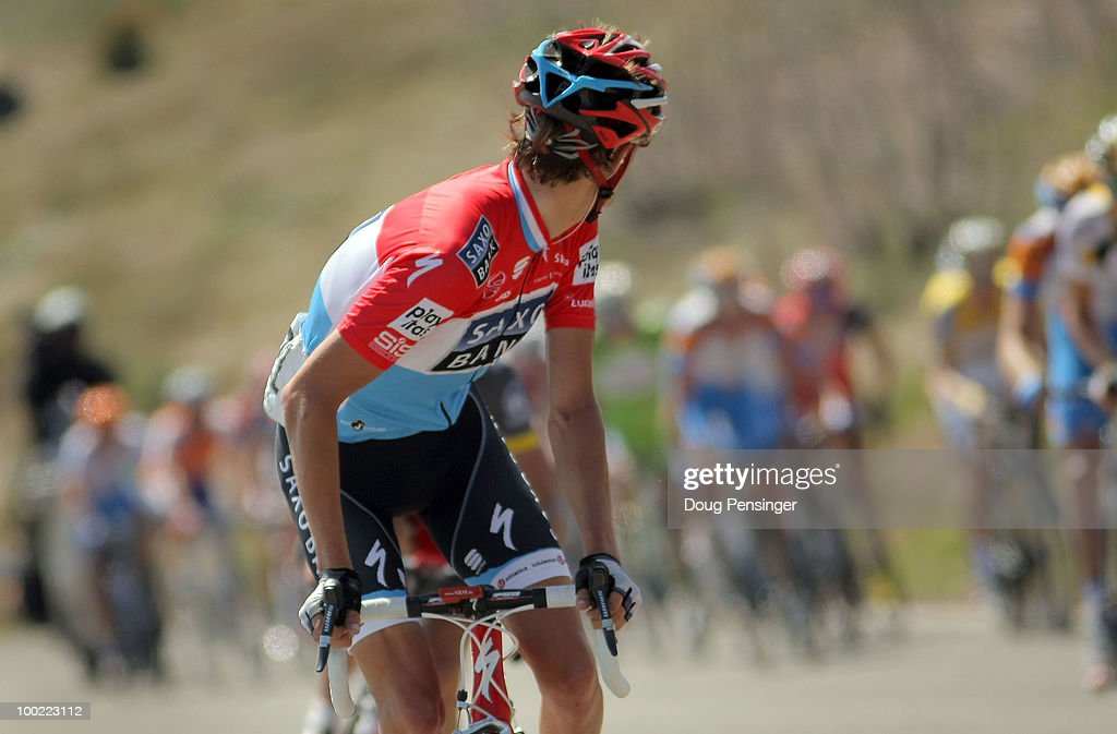 Andy Schleck of Luxemburg and riding for Saxo Bank looks over his shoulder as he is caught by the group of the race leader's yellow jersey after he was dropped from the breakaway during Stage Six of the 2010 Tour of California from Palmdale to Big Bear on May 21, 2010 in San Bernardino County, California.