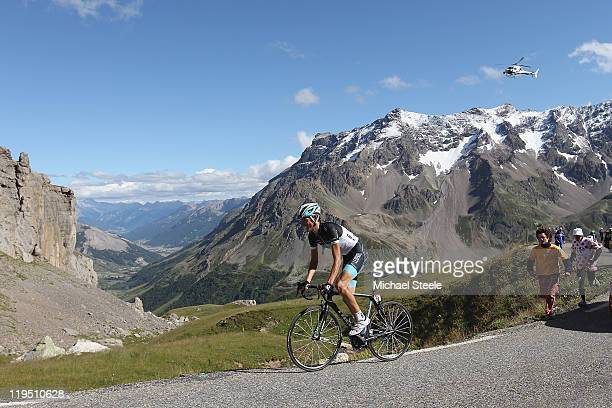 Andy Schleck of Luxemburg and Team LeopardTrek on his way to victory on the final climb during Stage 18 of the 2011 Tour de France from Pinerolo to...