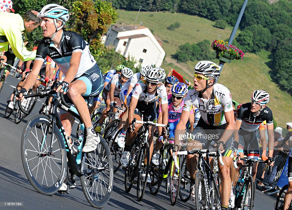 Andy Schleck of Team Leopard-Trek, Tony Martin of Team HTC - Highroad during Stage 9 of the Tour de France on July 10, 2011 from Issoire to Saint-Flour, France.