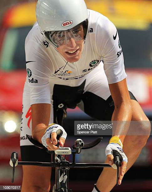 Andy Schleck of Team Saxo Bank crosses the finish line behind his nearest competitor Alberto Contador following stage 19 of the Tour de France on...