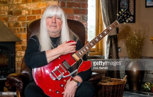 Andy Scott of The Sweet portrait at home 19th February 2018 He is holding a Gibson ES335 guitar with Bigsby vibrato