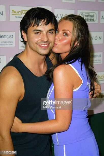 Andy ScottLee and Michelle Heaton during The Celebrity Netball Sevens at National Sports Centre in London Great Britain