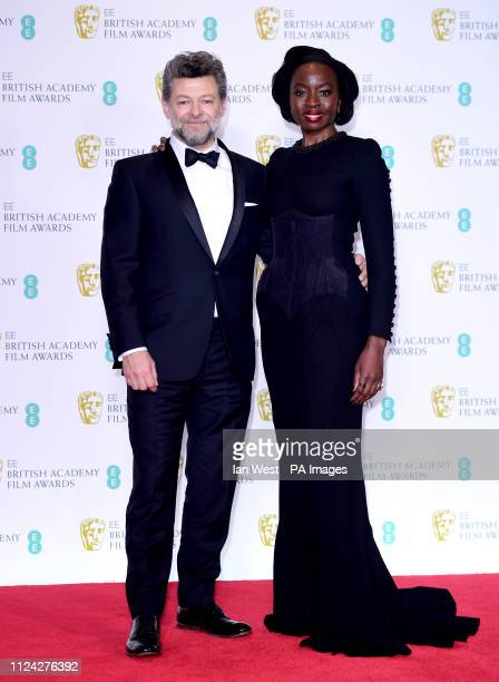 Andy Serkis and Danai Gurira in the press room at the 72nd British Academy Film Awards held at the Royal Albert Hall Kensington Gore Kensington London