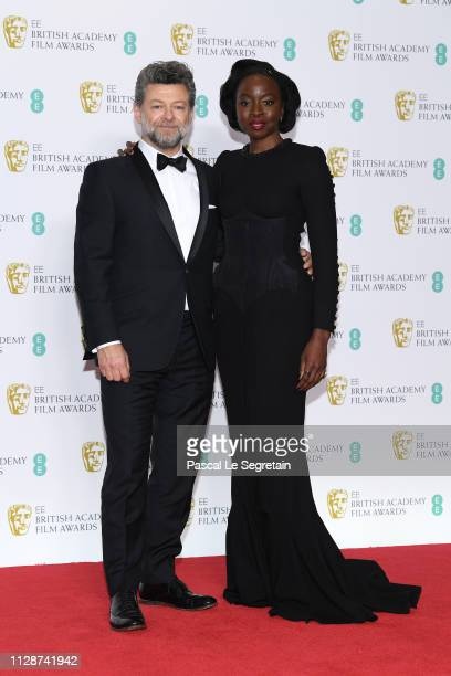 Andy Serkis and Danai Gurira pose in the press room during the EE British Academy Film Awards at Royal Albert Hall on February 10 2019 in London...
