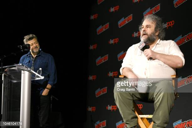 Andy Serkis and Director Peter Jackson speaks onstage at the Mortal Engines panel during New York Comic Con 2018 at The Hulu Theater at Madison...