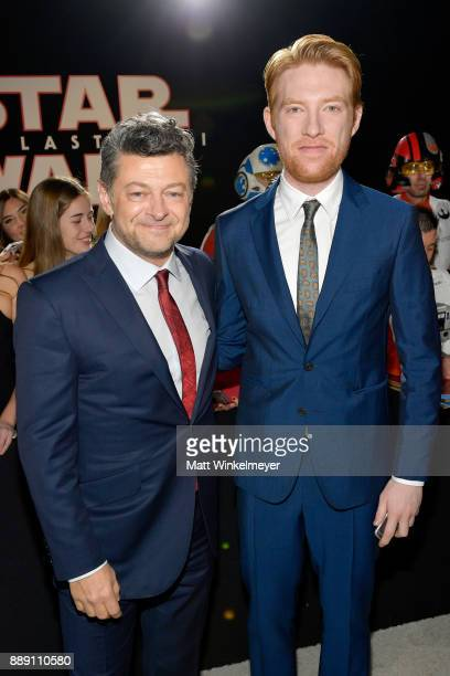 Andy Serkis and Domhnall Gleeson attend the premiere of Disney Pictures and Lucasfilm's 'Star Wars The Last Jedi' at The Shrine Auditorium on...