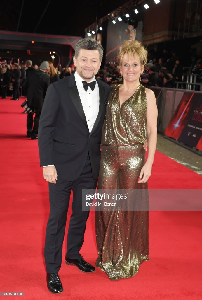 Andy Serkis (L) and Lorraine Ashbourne attend the European Premiere of 'Star Wars: The Last Jedi' at the Royal Albert Hall on December 12, 2017 in London, England.