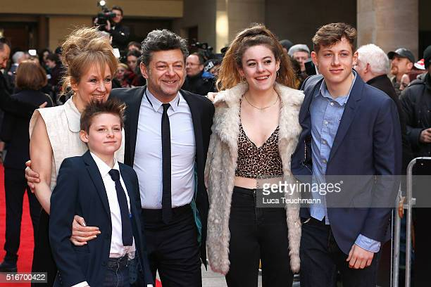 Andy Serkis and Lorraine Ashbourne with children Ruby Sonny and Louis attend the Jameson Empire Awards 2016 at The Grosvenor House Hotel on March 20...