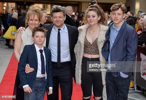 Andy Serkis and Lorraine Ashbourne with children Ruby Sonny and Louis attending the Jameson Empire Awards 2016 at The Grosvenor House Hotel on March...
