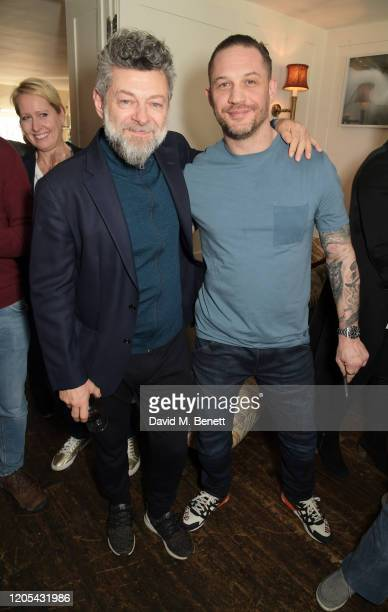Andy Serkis and Tom Hardy attend a drinks reception at Soho House to celebrate the announcement of a brand-new childcare facility at Warner Bros....